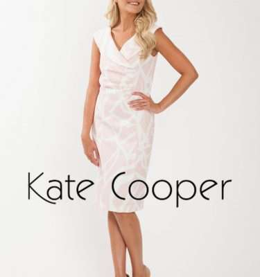 Kate Cooper - Large Collar Fitted Dress in Powder Pink Print