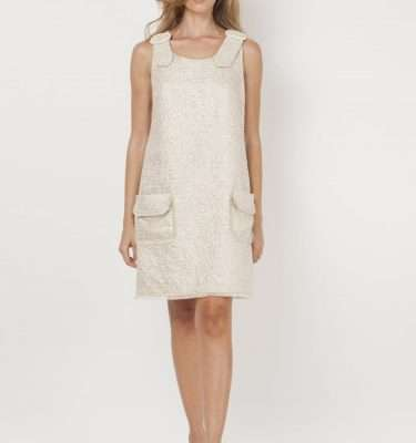 CAMELOT - Gold Sleeveless Tunic Dress with Patch Pockets and Pearl Shoulder Detail