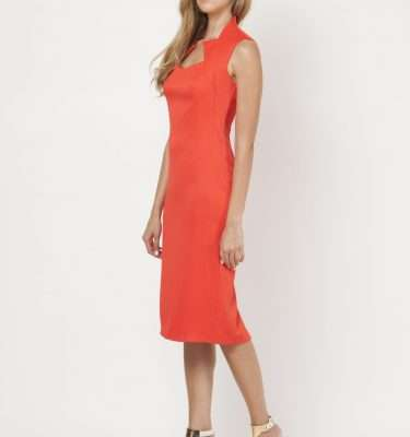 CAMELOT - Burned Orange Sleeveless Fitted Dress