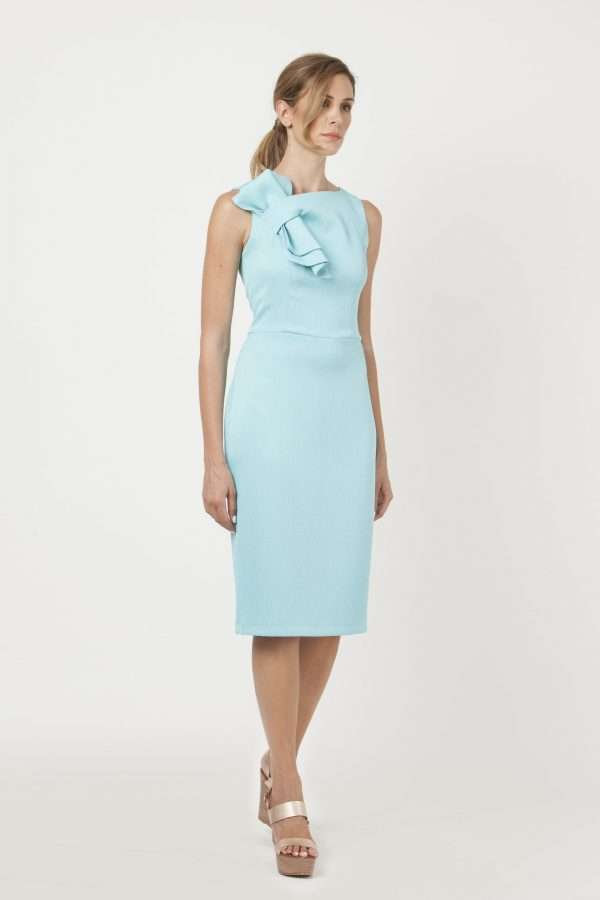 CAMELOT - Duck Egg Sleeveless Fitted Dress