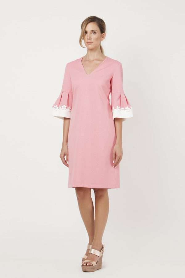 CAMELOT - Pink Bell Sleeve Dress with Diamante Applique Daisies