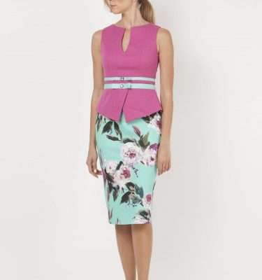 CAMELOT - Cerise and Duck Egg Sleeveless Print Dress