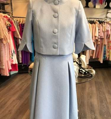 Ella Boo Powder Blue Applique Dress with Matching Mandarin Collar Jacket