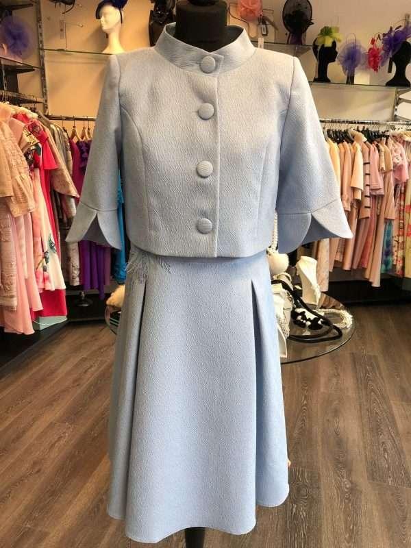 Ella Boo Powder Blue Applique Dress with Matching Mandarin Collar Jacket