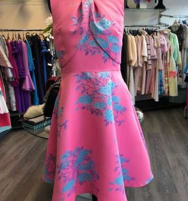 Daisy May - Pink Print Dress with Layered Bodice and Flair Skirt