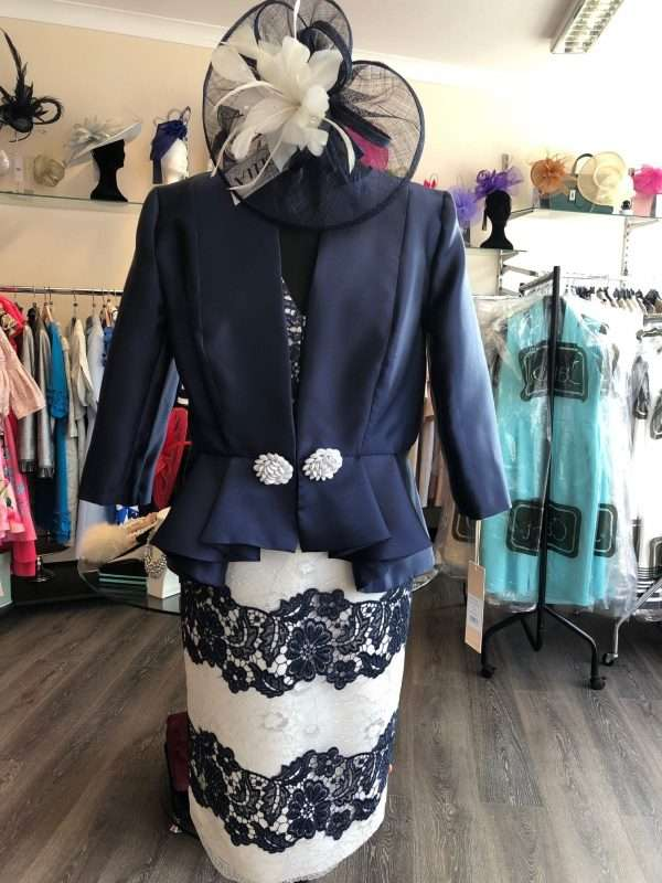 MARIA LAGO - Navy and Ecru Lace Dress with Navy Peplum Hem Jacket