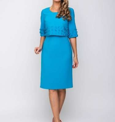 DAISY MAY - Aqua Sleeveless Dress with Applique Trim and Matching Bolero
