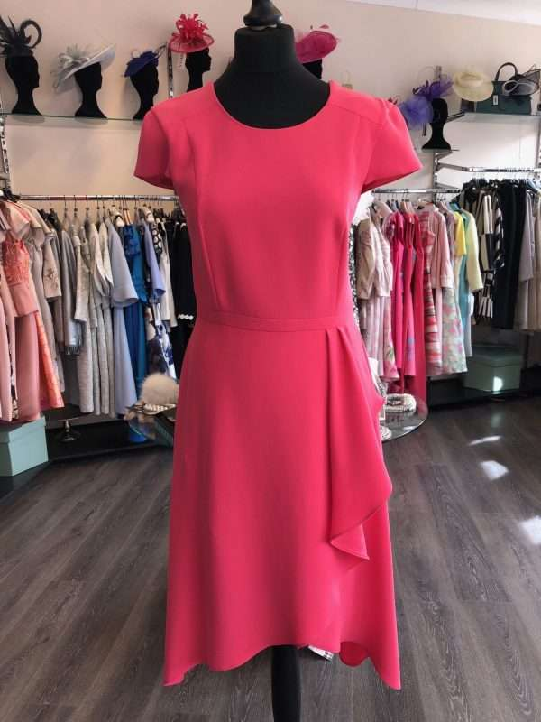 ELLA BOO - Hot Pink Cap Sleeve Dress with a Ruffle Wrap Skirt