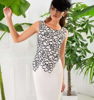Badoo - Short Sleeve Ecru Dress with Black Floral Lace Overlay