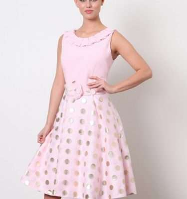 DAISY MAY - Pink & Metallic Polka Dot Flared Skirt Dress