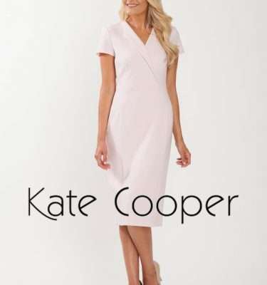 KATE COOPER - Pink Shawl Collar Peplum Hem Dress with Short Sleeve