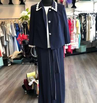BADOO - Navy Wide Leg Trouser with Tie Belt