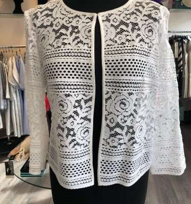 CAMELOT - Lace Pattern Bolero Top in Cream or Black