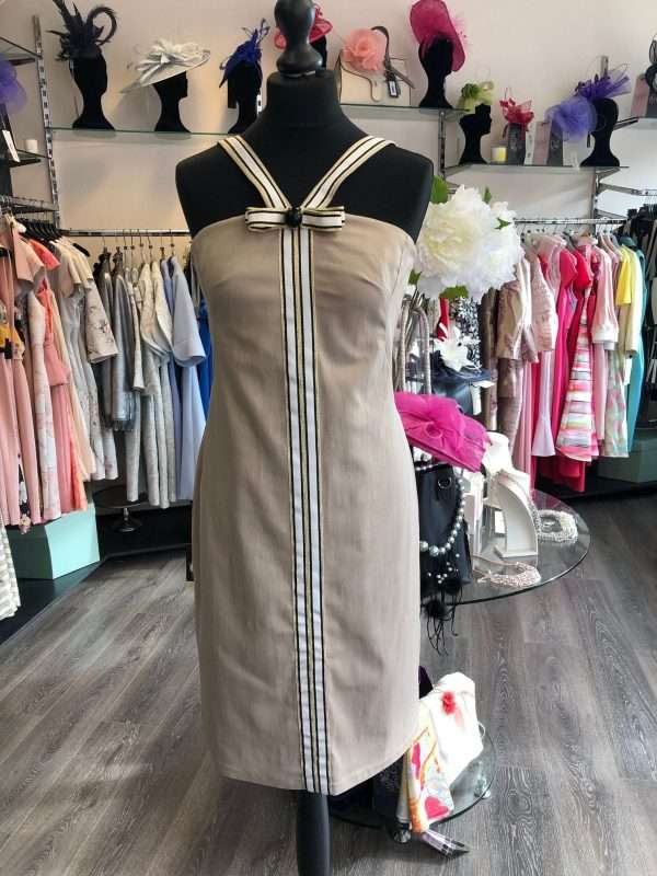 CAMELOT - Taupe Fitted Dress with Ribbon Strap Shoulder