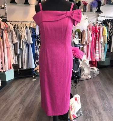 CAMELOT - Cerise Pink Off the Shoulder Fitted Dress