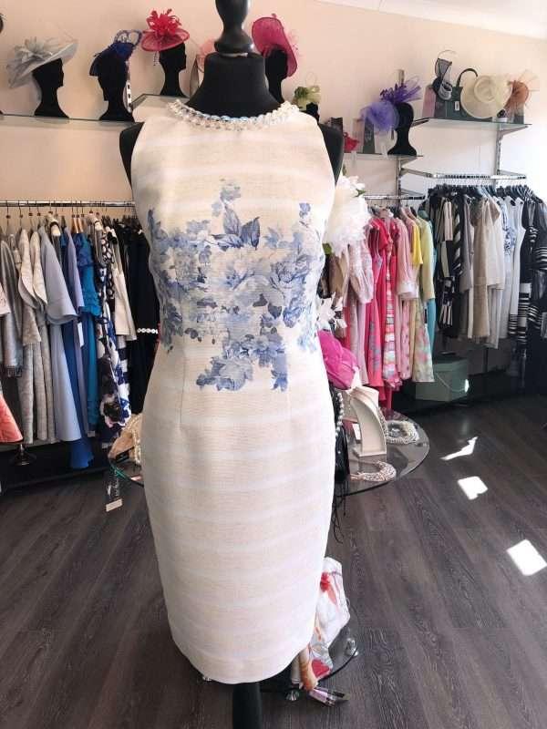 BADOO - Ecru and Blue Print Sleeveless Dress