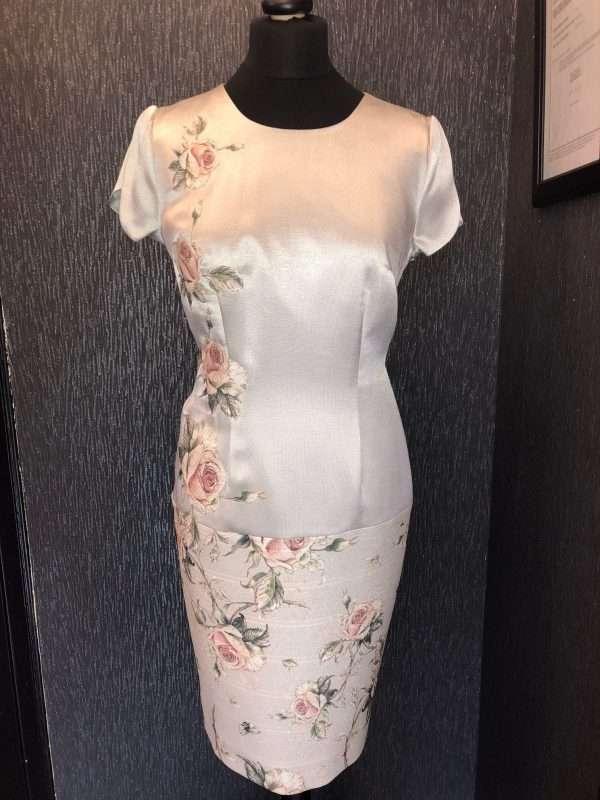 BADOO Silver and Peach Print Tulip Sleeve Dress