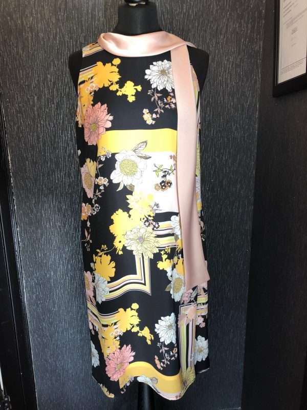 BADOO Sash Neck Multi Print Dress