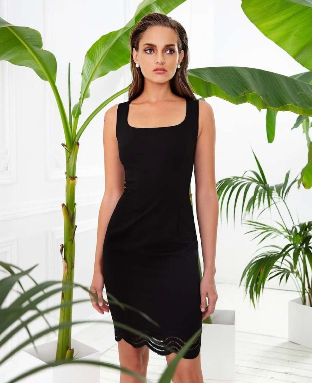 4b8b01b26648 BADOO - Black Sleeveless Fitted Dress with Lace Hem - Runway Boutique