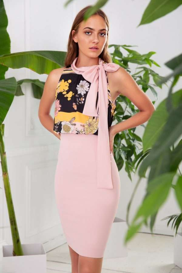 BADOO - Pink Skirt Dress with Pattern Bodice and Scarf Tie Neck