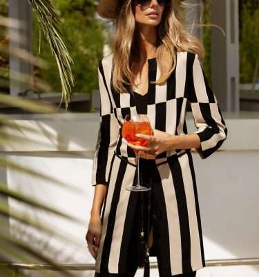 BADOO - Camel and Black Stripe Coat with Rope Tassel Belt