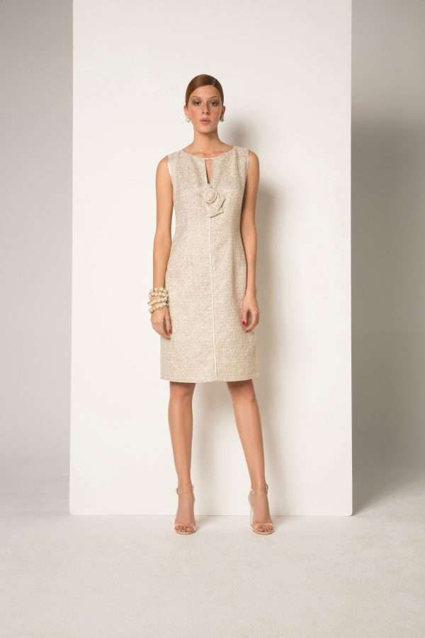 CAMELOT -Biscuit Sparkle Sleeveless Dress with Pearl Bow Buckle