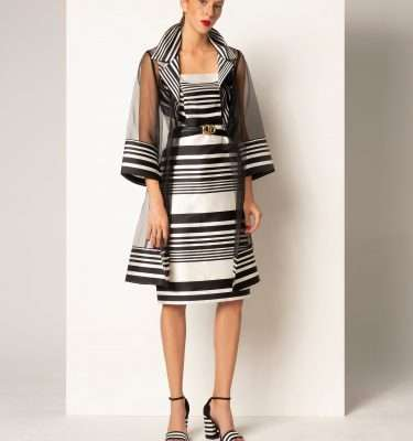 CAMELOT - Sleeveless Ecru and Black Square Kneck Dress with Matching Sheer Long Coat
