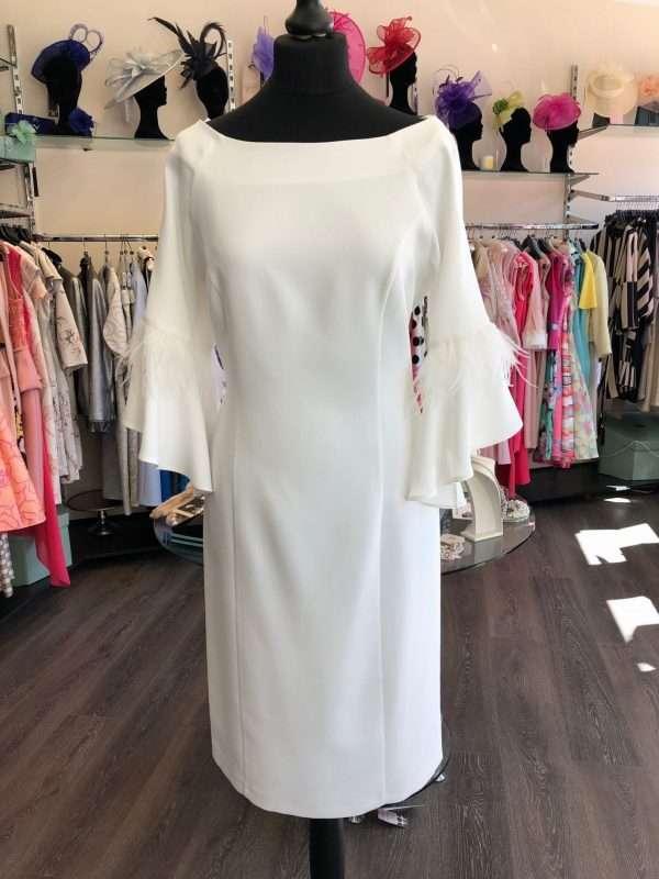 Ella Boo - Ecru Bell Sleeve Dress with Feather Trim