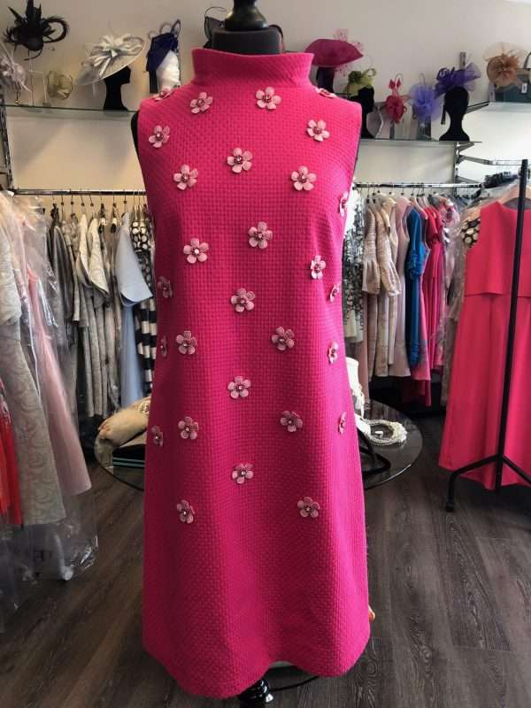 Camelot - Pink Sleeveless Tunic Dress with Daisy Applique