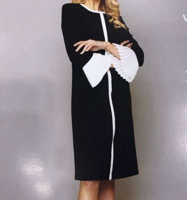 KATE COOPER - Black Pleated Cuff Sleeve Dress with Cream Trim