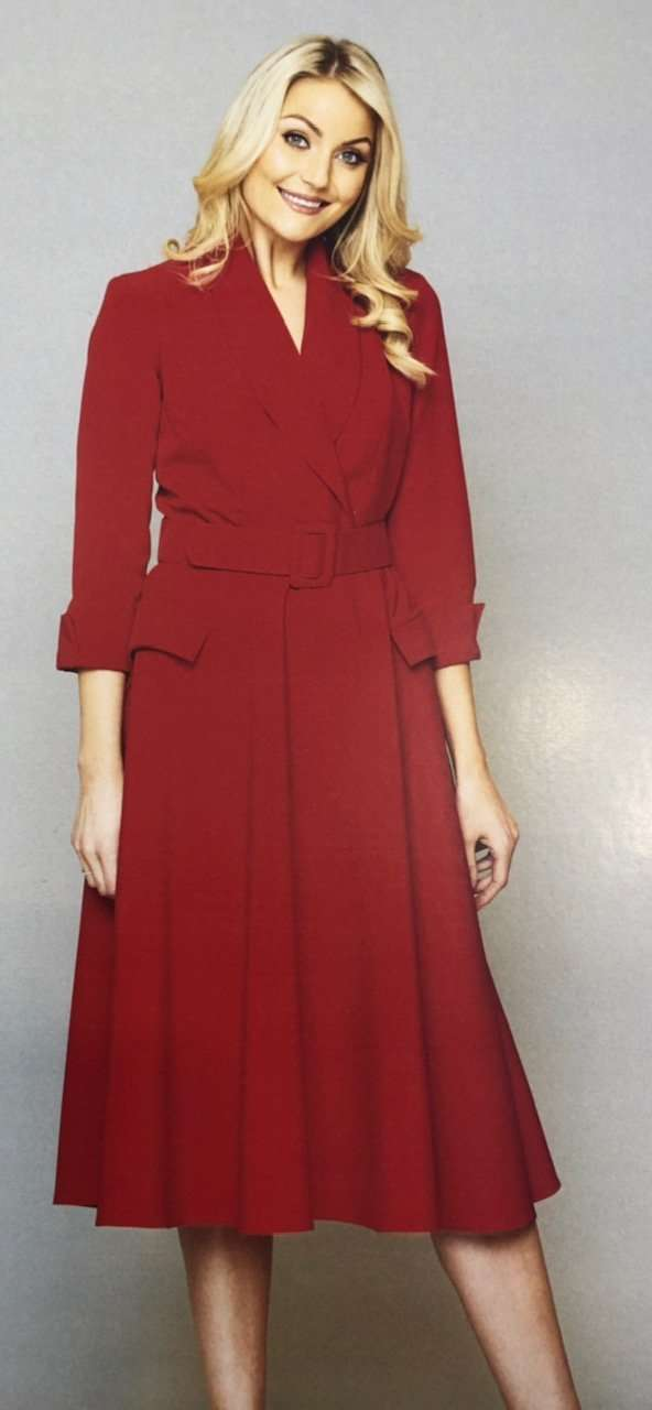 KATE COOPER - Red Belted Dress with Flair Skirt and Self Coloured Buckle Belt