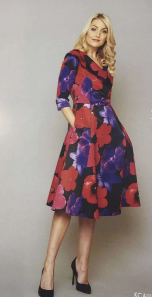 KATE COOPER Shawl Collar Dress with 3/4 Sleeves and a Full Skirt