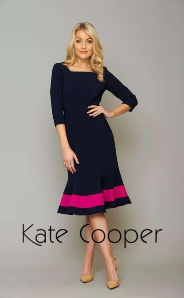 KATE COOPER Navy and Fuschia - 3/4 Sleeve Peplum Hem Dress