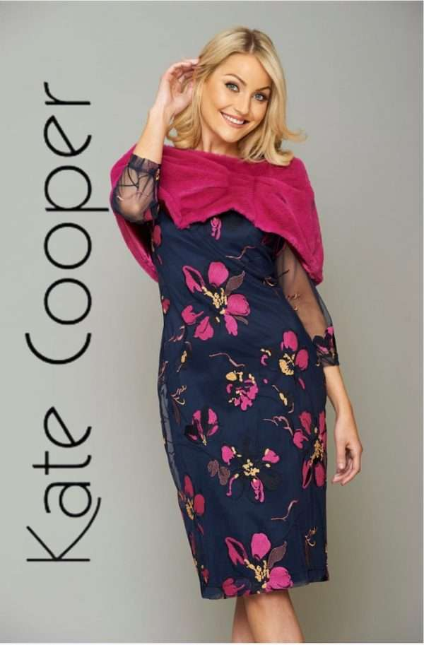 KATE COOPER Navy Sheer Overlay Dress with Fuschia Floral Design