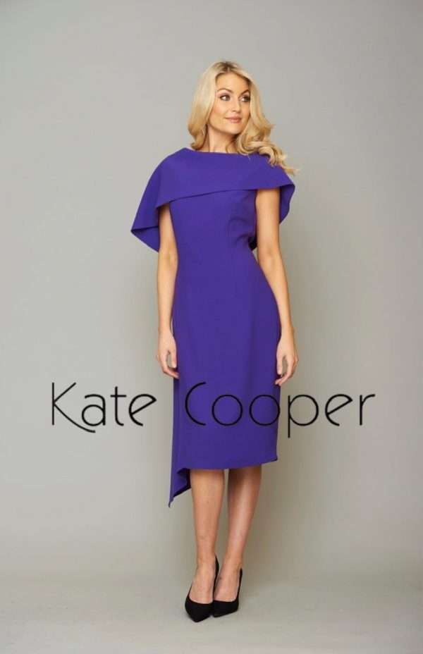 KATE COOPER Cape Collar Dress with Asymetric Hem