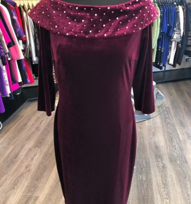 ELLA BOO - Ruby Velvet Dress with Diamante and Pearl Bardot Neckline