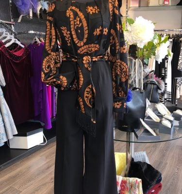 BADOO - Black and Burned Orange Print Jumpsuit