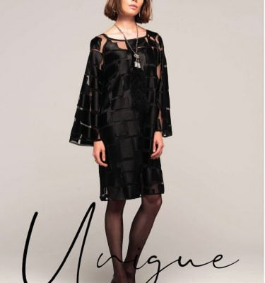 CAMELOT - Patterned Sheer Fabric - Black Long Sleeve Tunic Style Evening Dress