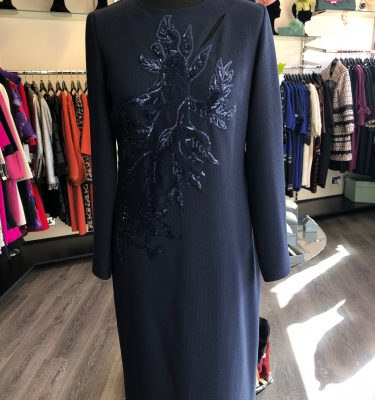 CAMELOT - Navy Long Sleeve Dress with Sequinned Applique Design