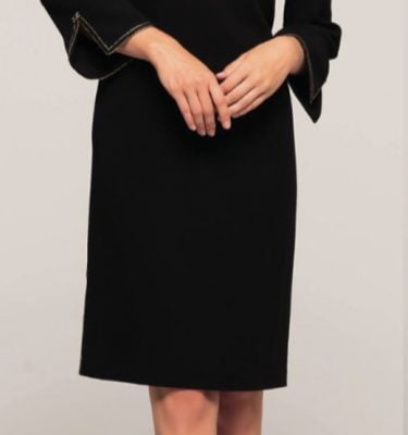 CAMELOT - Black Long Sleeve Dress with Gold Bows and Split Gold Trim Sleeve