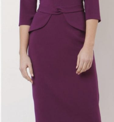 CAMELOT - Berry Fitted dress with Peplum Waist