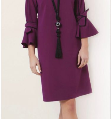 CAMELOT - Berry Bow Sleeve Dress