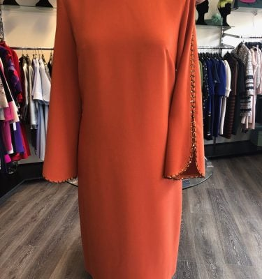 CAMELOT - Burnt Orange Dress with Lace and Sequin Sleeve Detail