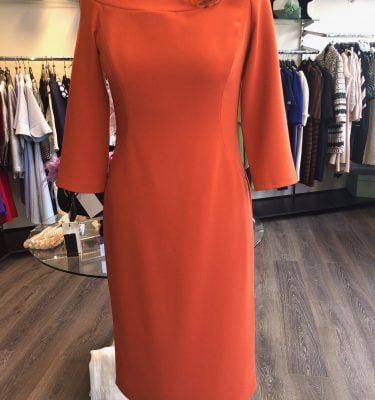 CAMELOT - Burnt Orange Fitted Dress with 3/4 Sleeve and Buckle Neck Detail