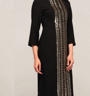 CAMELOT - Black 3/4 Sleeve Dress with Gold and Black Sequin Patterned Front Panel