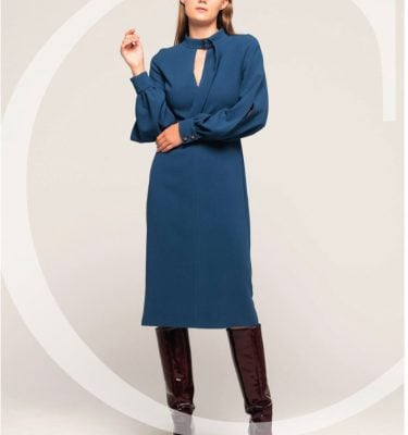 CAMELOT - Teal Fitted Dress with Long Split Sleeves and Buckle Fastening Neck Detail