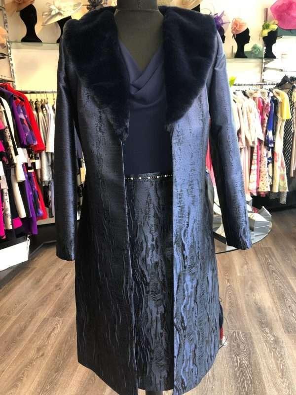 ELLA BOO - Navy Damask Skirt Dress with Diamante Waist and Matching Detachable Fur Collar Coat