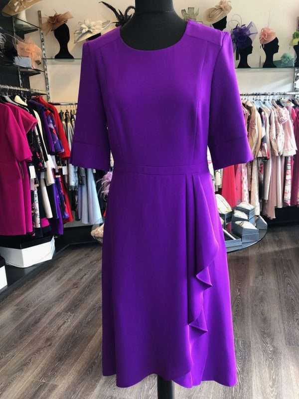 ELLA BOO - Purple 3/4 Sleeve Fitted Dress with Layer Effect Wrap Skirt