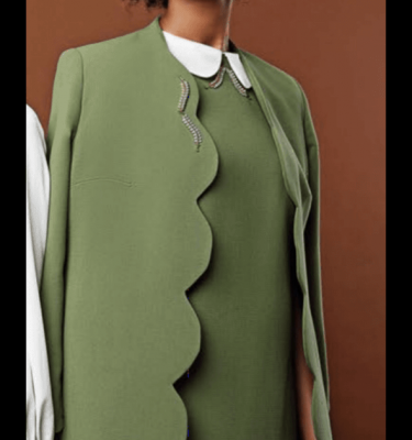 BADOO - Olive Edge to Edge Coat with Diamante and Pearl Brooch