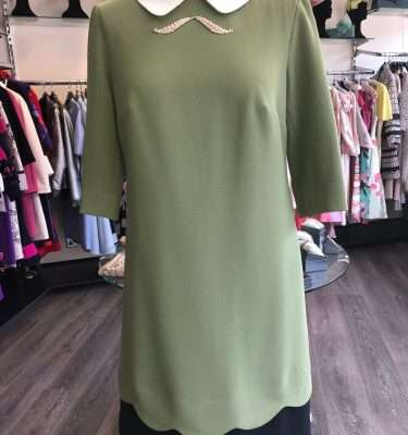 BADOO - Olive Tunic Dress with Cream Collar and Diamante Brooch